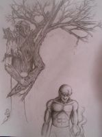 sketchbook page: trees and men by luckythebartender