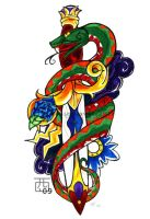 Traditional Snake and Knife by RoninReaver