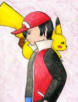 Trainer Red and his Pikachu by Nethilia