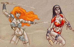 Red Sonja and Big Barda sketches by dichiara