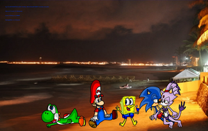 Mario Sonic Sponge Blaze Yoshi at the Beach 4 by DarkraDx