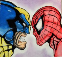 Wolverine Vs Spiderman by Darkmoonlilly