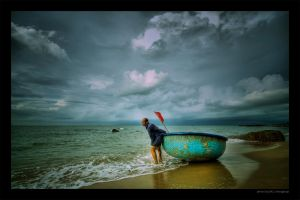 Fisherman at Long Hai beach by 9shoot