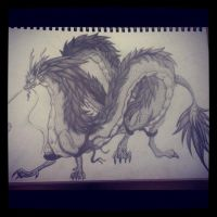 Oriental Dragon - Pencil Sketch by LookAliveHolly