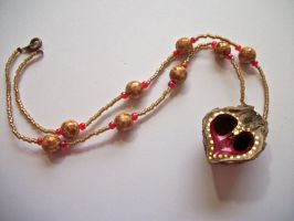 Pink and Gold Walnut Shell Necklace by LizPotterArt