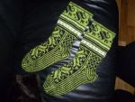 Black and green fair-isle Lilli socks by KnitLizzy