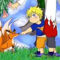 Yondaime, Naruto, and the Fox by Niteangl228