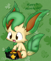 St. Paddy's day Leafeon by chibitracy