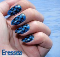 Blue grid nails by eresseayesta