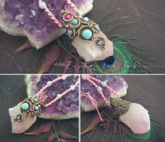 Rose quartz with amazonite necklace by EnchantedTokenArt