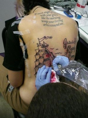 getting my back tattoo