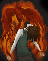 Ashes rise up from the flames by Ardate