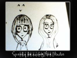 Spooky ink drawing for Hailie by Edeneyeslover