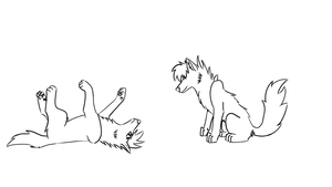 Whatcha Doin'? (Free Wolf Couple Lineart) by kilauea2011