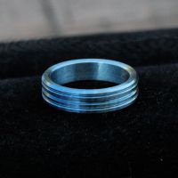 Hand Machined Blue Tone Anodized Titanium Wedding by Ichi-Black