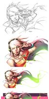 Funny Girl drawing process by Austh