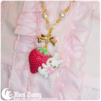 Strawberry bunny Necklace by CuteMoonbunny