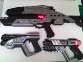 Mass Effect Foam Weapons by prettyfloralbonnet