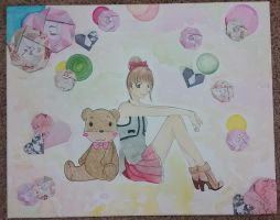 Girl and teddy bear by loner010