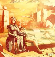Shepard and Kelly -- Under the sunset by faustsketcher