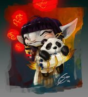 Panda hug by Kobold-Art