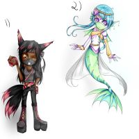 :Sale: Raz the Fox and Laila the Fish- CLOSED by Angelique-Adopts