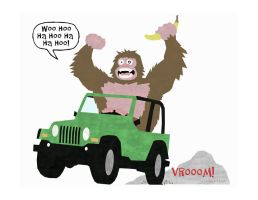Gorilla Driving A Jeep by Hartter