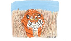 Tiger in tall grass (colour) by Mara999