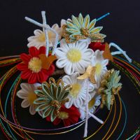 January Kanzashi 2012 - Asters and Pine by Arleen