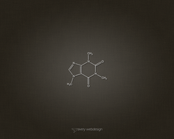 Caffeine Molecule Denim Wallpaper in Brown by averywebdesign