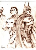 Punisher vs Batman by MisterHydesSon