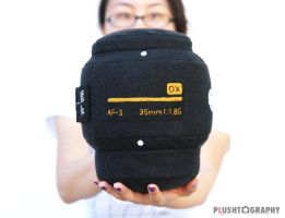 Nikon 35mm Lens Pillow by iliketodoodle