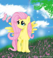 Say hi Fluttershy! (Colored Version) by D-SixZey