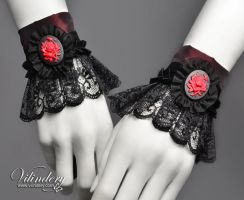 Pair of Little Lolita Cuffs with Red Rose by vilindery