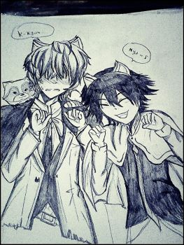 BSD Doodles (A Cat and a racoon) by AnoraHikari99