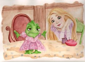 Rapunzel and Pascal by Katie-Joy
