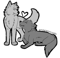 -FREE- Wolf Couple Lineart by D4RKT0RN4TH0R3