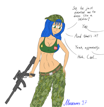 Julia as a soldier (request) by Mawnoos
