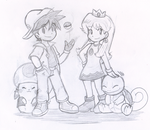 Red Mario x Blue Peach by Nintendrawer by Lawman09