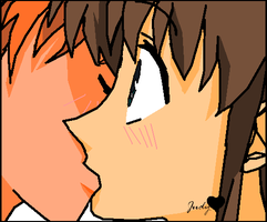 kyo and tohru kissing by Kami-Jazzu