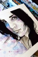 Ink and watercolor portraiture, Diana - VIDEO by jane-beata