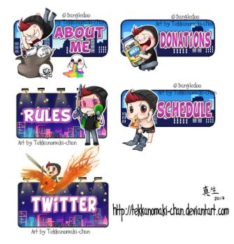 Commission: Twitch Panels for Dangledoo by TekkanoMaki-chan