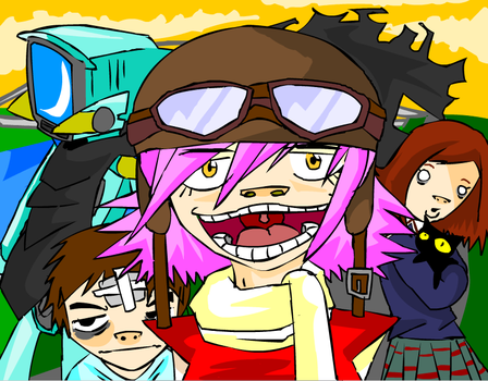FLCL-Gorillaz Style by Langioo