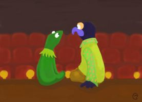 kermit and gonzo on  stage by MoonCREEPER