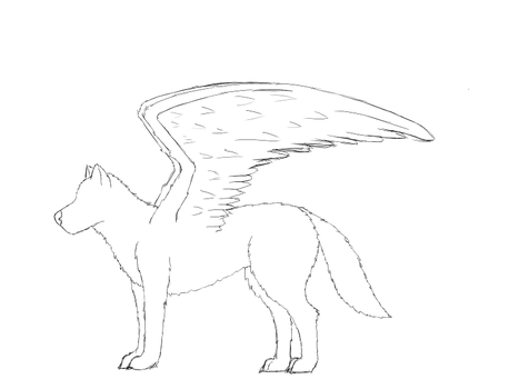 Winged Wolf WIP by DSworn