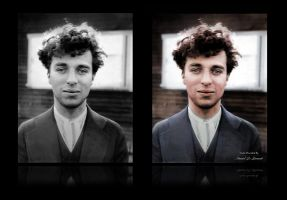 Charlie Chaplin, 1916 at the age of 27  Colorized by JohnnyMex