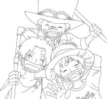 lineart, Ace Sabo Luffy by ModelingElf
