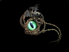 Bronze Wire Wrapped - Grass Dragon Pendant by LadyPirotessa