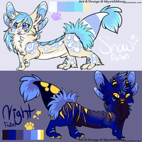 Snow and Night the Fluion Adopts SOLD by MystikMeep