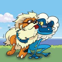 Growlithe and Frogadier by Dshotinthefacepirate